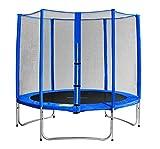 SixBros. SixJump 2,45 M Trampolino elastico da giardino blu - Rete di Sicurezza - TB245/1606