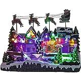 insatech Großes LED Weihnachtsdorf Dorf mit fliegendem Santa Claus und