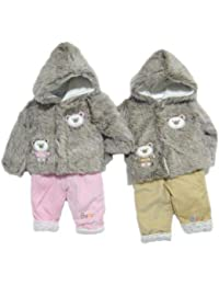 Cute Two Piece Clothes Set Comprising Faux Fur Hooded Baby Coat With Teddy Applique And Padded Trousers - Pink Age 3-6 Months