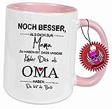 Klebemonster24 Spruchtasse Funtasse Rosa voll mit Aufdruck Spruch Noch Besser als Dich zur Mama zu haben … … Bedruckte Tasse Becher für Kaffee Tee