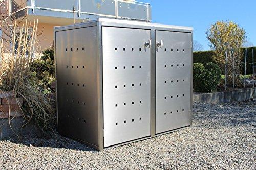 Resorti Mülltonnenbox Basic Edelstahl Kombi 2er 120 / 240 Liter - 2