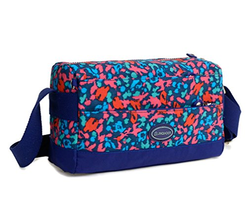 Tiny Chou leicht wasserdicht Nylon Schultertasche Travel Umhängetasche für Mädchen mit Reißverschluss blau