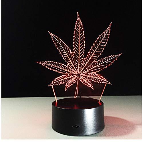 Maple Leaf 3D LED Lámpara de ilusión visual Lámpara de acrílico transparente de luz nocturna 7 Cambio de color táctil Lámpara de mesa Lámpara de lava para niños