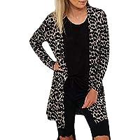 HWTOP Damen Strickjacke Lang Kimono Cardigan Eleganten Tops Outwear Jacke Maxi Offene Strickmantel Mantel Leopard Premium Casual Langarmshirt Jacke Asymmetrisch Oberteil Jacke