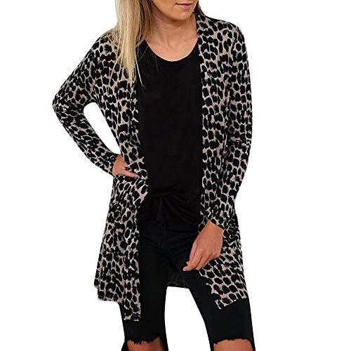 MEIbax Damen Casual Leopard gedruckt Mantel lose Kimono Cardigan Tops Dünner Outwear Tunika -