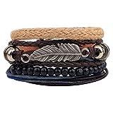 Housweety 4Leder Armband für Männer Frauen geflochtenen Seil Bead Armreif Manschette Armband