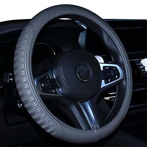 Coole Auto Lenkradabdeckung Komfort Haltbarkeit Sicherheit für Männer Frauen Mädchen Dame (Grau)
