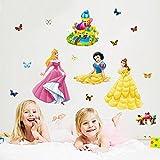 Kibi Aufkleber Princess Dekorative Wandsticker Prinzessin Wandtattoo Disney Prinzessin Schlafzimmer Wandaufkleber kinderzimmer Mädchen Babyzimmer Messlatte 76 (W) x 179 (H) CM
