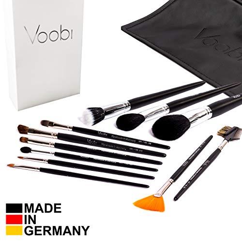Beauty Collection Make-up-set (VOOBI Collection №1 Make Up Schminkpinsel Set mit Tasche   Hergestellt in Deutschland   Echthaar Profi Pinselset - 11 professionelle Kosmetikpinsel - Beauty Pinsel Box Schwarz/Silber)