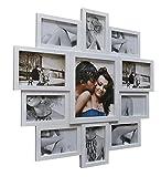 Livitat Bilderrahmen Collage 10 x 15 cm Weiß Fotorahmen Fotogalerie 11 Fotos mit Glaseinsätzen 63 x 63 cm LV163