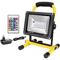 Ustellar Foco LED RGB Exteriores Recargable 30W, 16 Opciones 4 Tipos de Modos, Impermeable IP66, Con Control Remoto, Proyector LED de Colores Portátil Para Navidad, Bodas y Otras Decoraciones Festivas