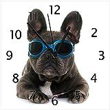 Wallario Glas-Uhr Echtglas Wanduhr Motivuhr • in Premium-Qualität • Größe: 30x30cm • Motiv: Cooler Hund mit Sonnenbrille in blau - Französische Bulldogge