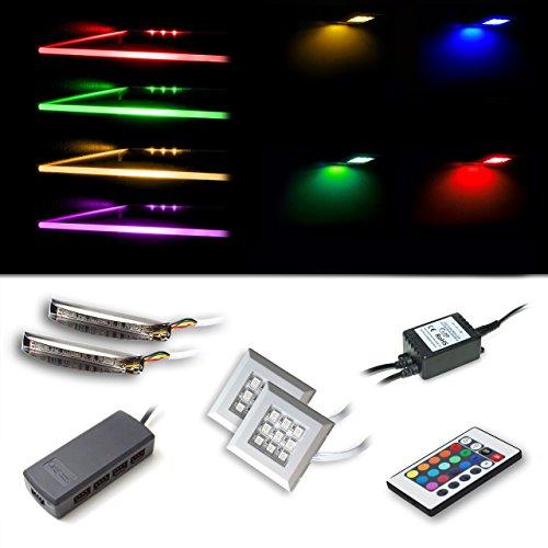 LED RGB Beleuchtungsset bestehend aus 2 RGB-Glaskantenbeleuchtungen und 2 Unterbaustrahler