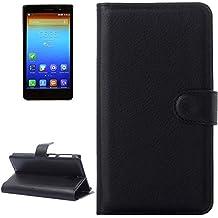 Caso especial del diseño, Litchi Texture Flip Funda de Cuero con Holder & CardSlots & Walletfor Lenovo S860 Proteger el móvil ( Color : Negro )