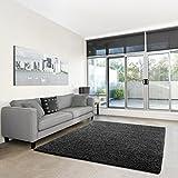 Shaggy-Teppich | Flauschiger Hochflor fürs Wohnzimmer, Schlafzimmer oder Kinderzimmer | einfarbig, schadstoffgeprüft, allergikergeeignet in Farbe: Dunkelgrau; Größe: 40 x 60 cm