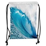 OQUYCZ Drawstring Sack Backpacks Bags,Ocean Decor,Surfing Water Tube Appeares After Forceful Giant Wave Curls Itself on Sea,