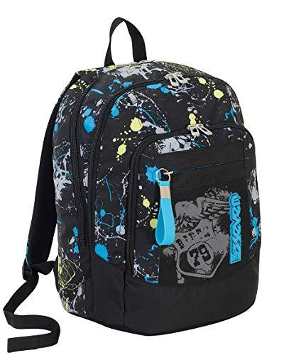 Zaino scuola advanced seven - sprinkle - nero - 30 lt - supporto usb - flashcolor fotosensibile