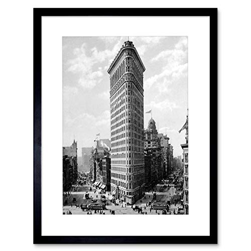 Flat Iron Finish (FLAT IRON BUILDING NY 1903 HISTORY OLD BW PHOTO FRAMED ART PRINT PICTURE F12X355)