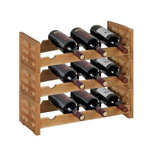 Wenko Cantinetta 3pezzi per 12bottiglie-espandibile-Wallnus legno-Scaffale-supporto vino-vino ripiano-Porta bottiglie-bottiglie per