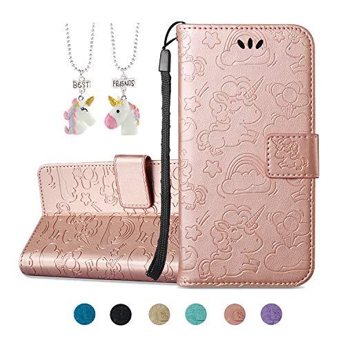 Kawaii-Shop iPhone 5 5S SE Ledertasche Hülle Flip Case Geprägt Rosé Gold Book Style Schutzhülle Magnetverschluss Kartensteckplätze Wallet Cover + 2 Stück Einhorn Anhänger (Iphone 5s Purple Rose Case)