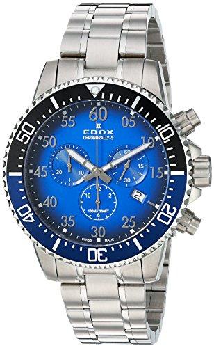 Edox Orologio Cronografo Quarzo Uomo con Cinturino in Acciaio Inox 10227-3NBUM-BUBN