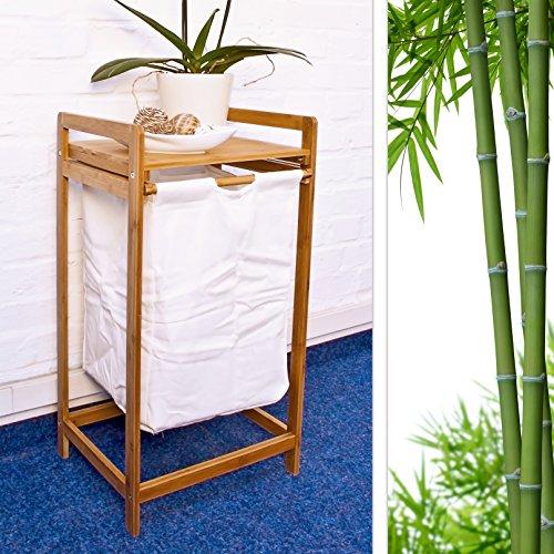 Wäschesammler mit Bambusgestell und Stoffbeutel - 2