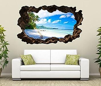 3D Wandtattoo Landschaft Malediven Strand Meer Bild Selbstklebend Wandbild Wandsticker Wohnzimmer Wand Aufkleber 11G349 Grosse Fca