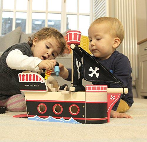 Indigo Jamm Jolly Jacks Piratenschiff, hölzernes Fahrzeugspielset für Kinder