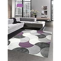 Designer rug living room carpet short pile drops lilac gray beige size 200 x 290 cm