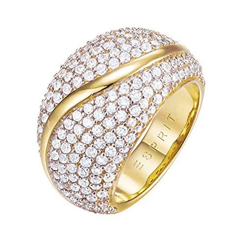 ESPRIT Damen-Ring Atropia Messing rhodiniert Zirkonia Weiß Rundschliff Gr. 50 (15.9) - ESRG02844B160