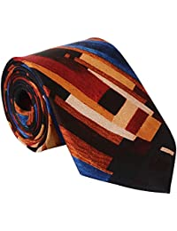 Rohit Bal Men's Pure Silk Tie- Pocket Square - Packed in nice wooden box - multi colored (Free Size)