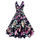 Retro Kleid SUNNSEAN Damen Plus Größe Ärmellos Kleid Floral Drucken Abendkleider Elegant Großer Rock Kleider Frauen V-Ausschnitt Taille Kleider Party Kleide
