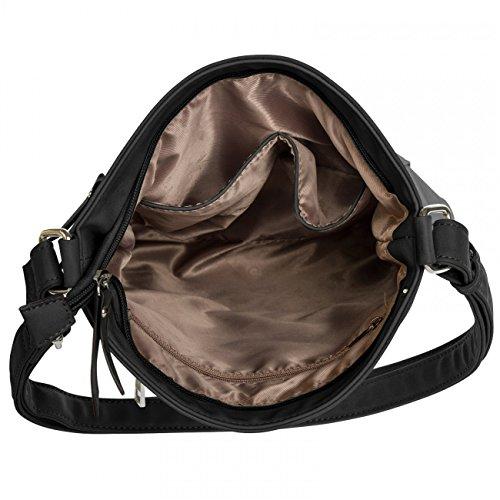 CASPAR Damen Umhänge Tasche ALINA / Handtasche / Schultertasche / Messenger Bag - in vielen Farben - TS819 schwarz