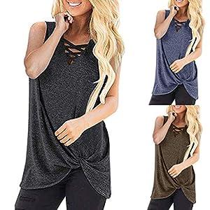 Berimaterry Damen Tops Ärmellos Unterziehshirt Einfarbig V-Ausschnitt Cross Tank Top Longshirt Große Größen Knoten Shirt…