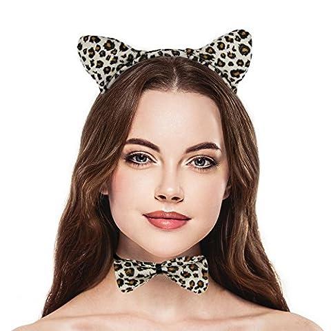 Lux Accessoires Halloween Leopard oreille, nœud papillon Queue Ensemble de costume Accessoires de (3Pièces)