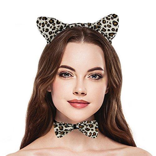 LUX Zubehör Halloween Leopard Ohr, Schleife Schwanz Zubehör Kostüm-Set (3) (Blumen Kind Halloween Kostüme Diy)