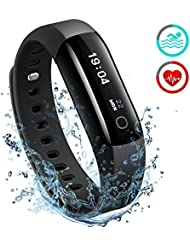 Fitness Tracker IP68, Mpow Orologio Fitness Cardiofrequenzimetro Contapassi Polso, Braccialetto Activity Tracker Orologio Contapassi Smartband Smartwatch ip68 Orologio Fitness Uomo Donna con Cardiofrequenzimetro / Pedometro / Calorie / Monitor del Sonno / Notifiche Chiamate / Activity Tracker Compatibile iOS 8.0 o Superiore, Android 4.3 o Sopra, Nero