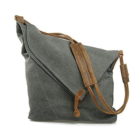 Minetom Femme Homme Unisexe Rétro Style sac à bandoulière fourre tout en toile et cuir Sacs Mode ( Gris )