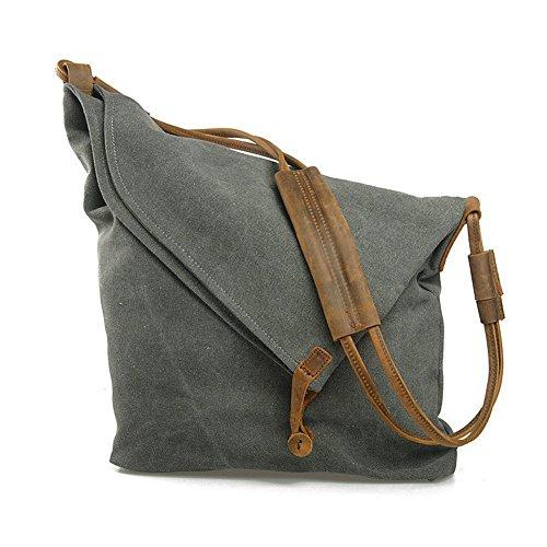 Minetom Femme Homme Unisexe Rétro Style sac à bandoulière fourre tout en toile et cuir Sacs Mode