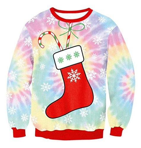 ZFANG Weihnachten 3D Pullover Sweatshirt Hoodie Shirt Shirt Print Neutral Neuheit Weihnachten Tier Elf Langarm T-Shirt , 1 , (Halloween Kostüm Killer Bunny)