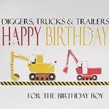 """White Cotton Cards """"excavadores, Camiones y remolques de cumpleaños para cumpleaños de niño Tarjeta de felicitación de"""
