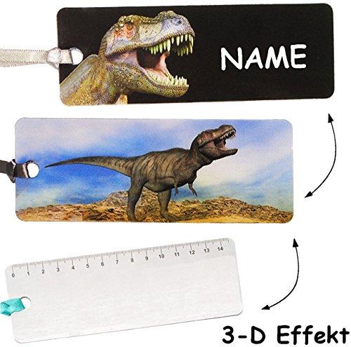 alles-meine.de GmbH 3-D Effekt _  Dinosaurier - Tyrannosaurus T-Rex  - Lesezeichen / Lineal / Geschenkanhänger - incl. Name - Geschenk - Tiere - Mädchen Jungen - für Kinder & E..
