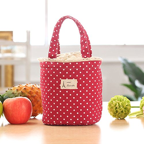 Zolimx Thermal Isolierte Brotdose Kühltasche Tote Bento Pouch Mittagessen Container (Rot)