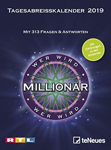 Wer wird Millionär 2019 - Tagesabreisskalender zur Serie, Quizkalender mit Tischaufsteller, Wissenskalender  -  11,8 x 15,9 cm