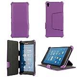 Ultra Slim Tasche Leder Style Sony Xperia Z3 Hülle lila violett Cover mit Stand - Zubehör Etui smartphone 2014 Sony Xperia Z3 Flip Case Schutzhülle (Handy tasche folio PU Leder, Purple) - Brand XEPTIO accessoires