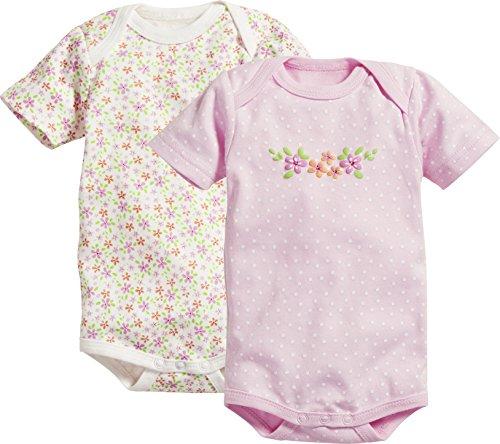 Schnizler Baby-Mädchen Kurzarm, 2er Pack Blumen, Oeko-Tex Standard 100 Formender Body, (Beige 6), 50 (Herstellergröße: 50/56)