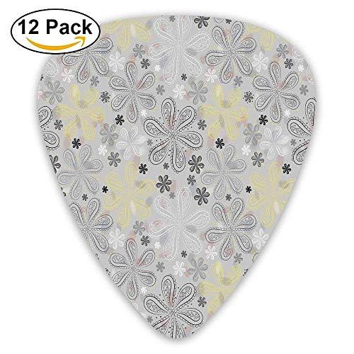 Ethnische Bohem Style Paisley Print Blumen Punkte Kunst Bild dekorative Plektren 12 Pack Für E-Gitarre, Akustikgitarre, Mandoline und Bass - Style-blumen-print