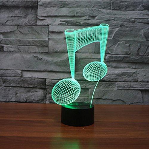 Imagen para Lámpara 3D Jawell con luz en forma de nota musical, con 7 colores cambiantes, táctil, con cable USB e ideal para decorar o regalar