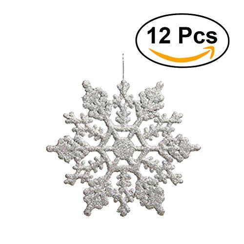 Tinksky Decorazioni di fiocco di neve 10cm Albero di Natale Fiocchi di neve Pezzi per Natale Ornamenti 12pcs (Argento)
