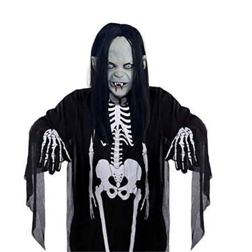 lloween Maske Maskerade Horror Maske Kopf Vampir Keuschheit Lange Haare Maske Super Gruseliggeister und Handschuh ()